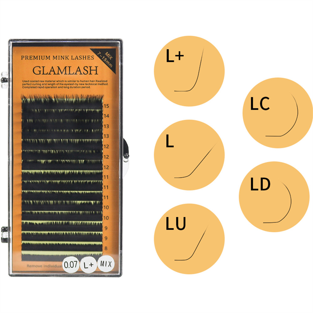 Glamlash 16rows L L+ LC LD LU Eyelash Extension 7-15mm Mixed Length PBT Mink Eyelash Extension For Grafting L Shaped Lashes