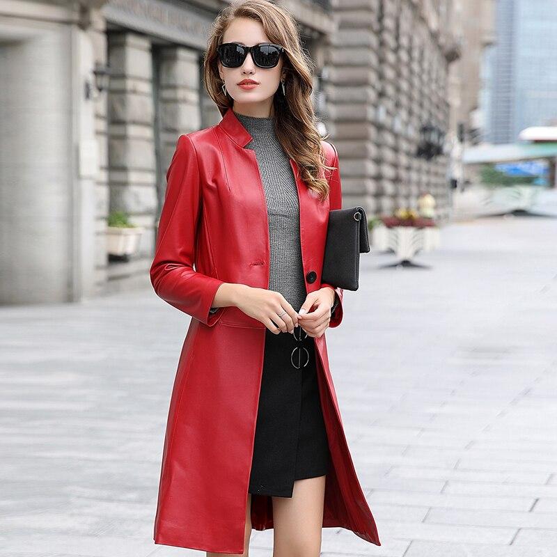 Spring Real Sheepskin Coat Female Genuine Leather Jacket Women Montone Jacket Long Trench Coat Autumn Clothes LWL1485