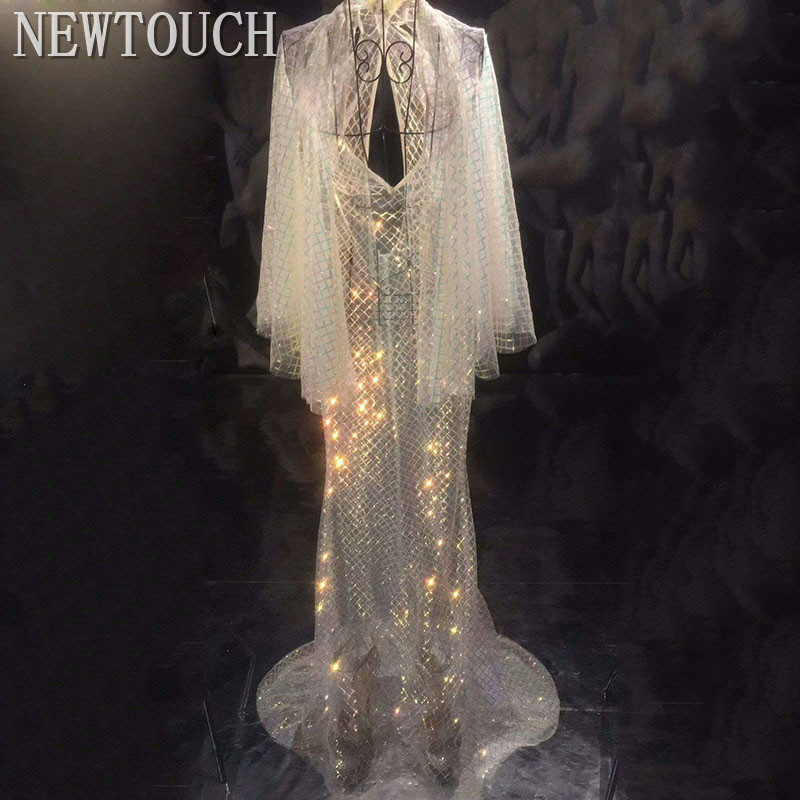 Long Trumpet Sleeve DressMulti-color Sequins See Through Dress Bar DS Women Singer Outfit Dance Dress Birthday Celebrate Dress