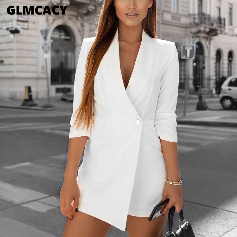 Women Formal Office Lady Jumpsuits Shawl Lapel Suit Design Playsuits Autumn Long Sleeve One Button Shorts Rompers