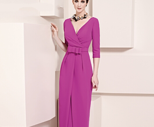Hot Selling Purple V neck 3/4 sleeve long mother of the bride dresses with bow floor-length vestido para mae da noiva MMBD52