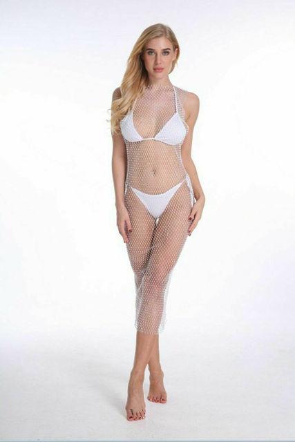 Hot Summer Women Ladies Bikini Crystal Cover-Ups Fishnet Mesh Cover Up Swimwear Beach Bathing Suit Mesh Hollow Out Dresses 8