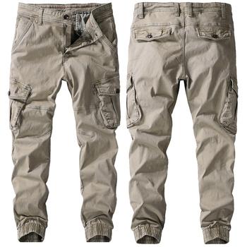 Męskie spodnie na jesień wiosenne spodnie robocze z czystej bawełny męskie spodnie Cargo modna odzież spodnie wojskowe z wieloma kieszeniami spodnie wojskowe tanie i dobre opinie TIKALIA Cargo pants CN (pochodzenie) Mieszkanie COTTON Kieszenie skinny W stylu Safari Midweight Czesankowej Pełnej długości