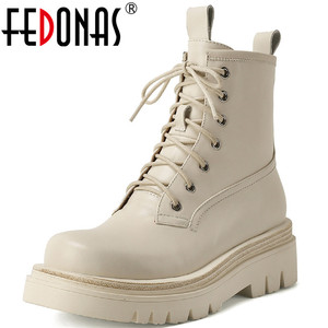 FEDONAS Dress 2020 New Hit Shoes Woman Cross Tied Genuine Leather Thick Heels Ankle Boots Fashion Working Winter Boots Leather
