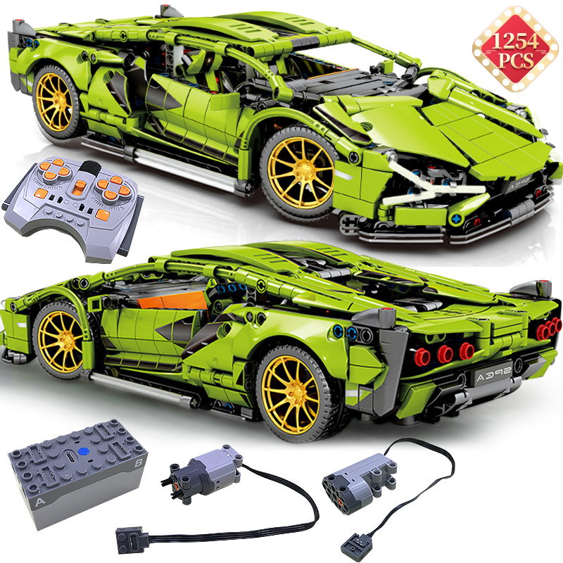 Bricks Kids Toys Building-Blocks Rc-Car-Model Simulation-Green Technic Racing Boyfriend