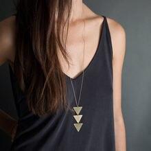 Новая модная женская золотая цепочка треугольное длинное ожерелье