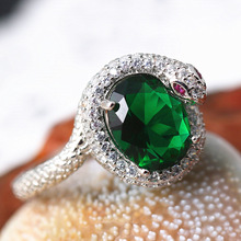 Luxury White Gold Snake Green Gem Ring Classic Engagement Wedding Anniversary Jewelry Christmas Gift Charm