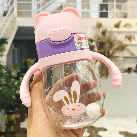 320ml Kids Feeding Straw Nipple Water Bottle Portable Hot Water Bottle Travel Mug Training Cup Learn Drinking Sippy Cup Two lids Lahore
