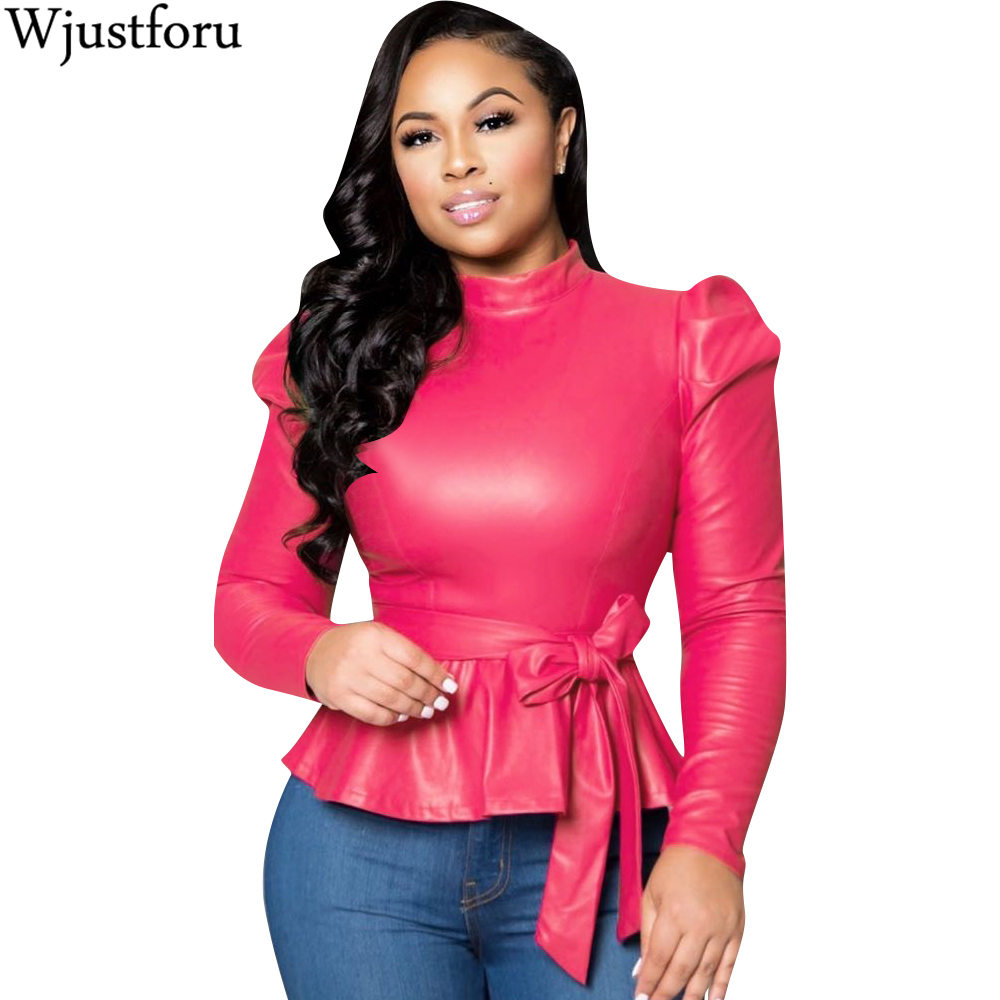 Wjustforu 5 Color Leather Long Sleeve Solid Pullover Tops Frenulum Street Fashion PU Coat Outerwear Autumn Winter Dropshipping