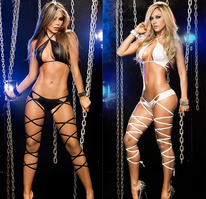 Hot Sexy Women Erotic Bandage Lingerie Teddies Leather Babydoll Sexy Crossed Underwear Nightclub Dance Clothing Nightgowns