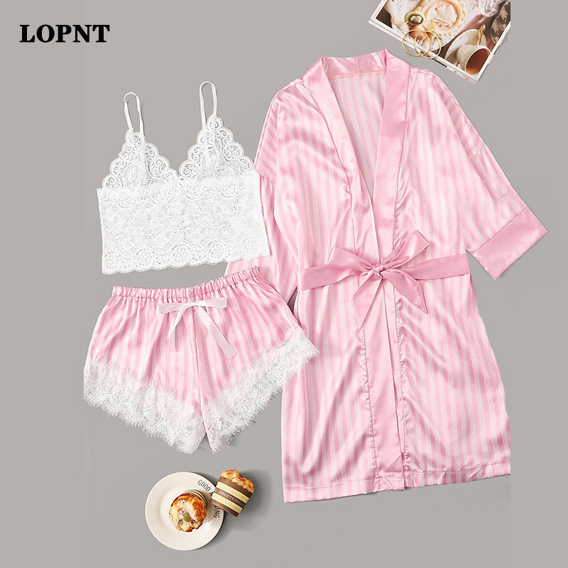 LOPNT 3pc Pajama Women Lace Satin Pajamas Sets Wireless Bra Camisole Shorts Stripe Robe Sleepwear Floral Lace Striped Lingerie