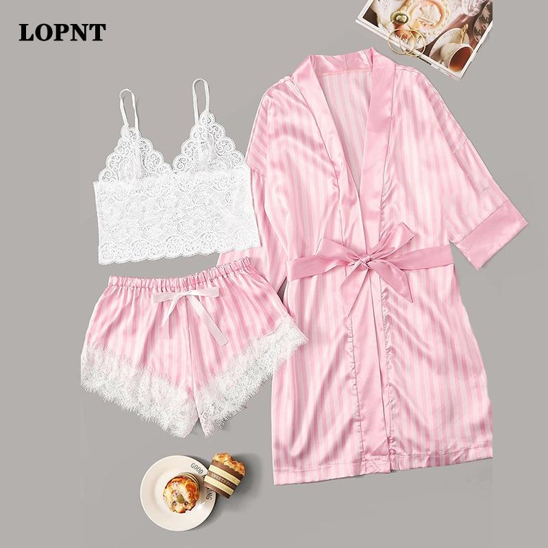 LOPNT 3pc Pajama Women Lace Satin Pajamas Sets Wireless Bra Camisole Shorts Stripe Robe Sleepwear Floral Lace Striped Lingerie