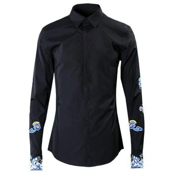New Shirts Men Luxury Chinese Style Embroidery Black Party Mens Shirts Fashion Long Sleeve Slim Fit Mens Dress Shirts 4XL