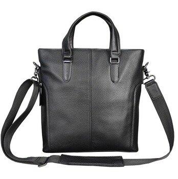 Men's Handbag Black Shoulder Bag Lychee Pattern Messenger Bag Office Worker  Briefcase