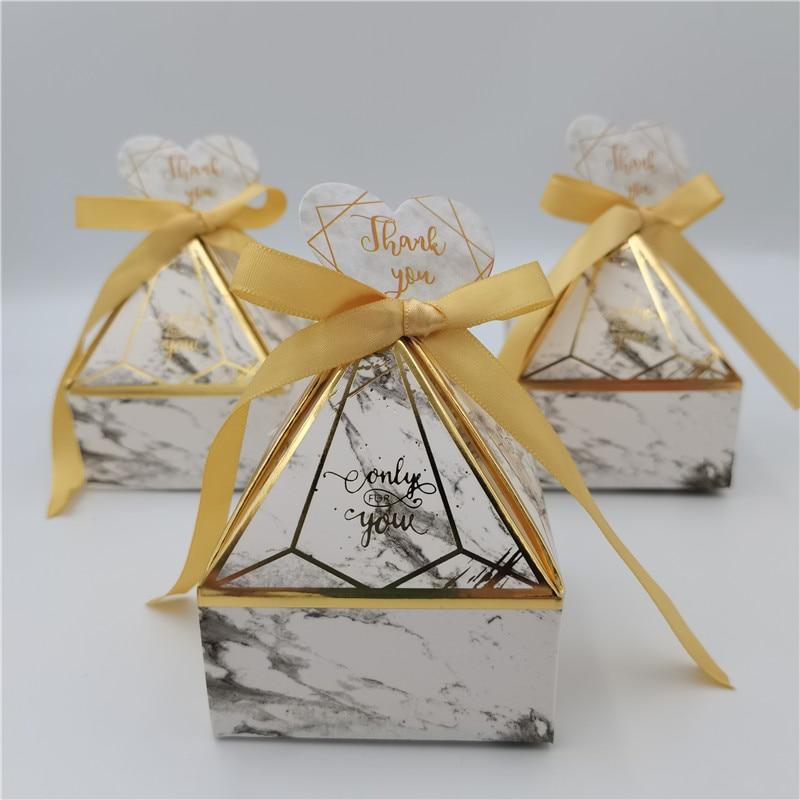 Caixa de Presente Suprimentos de Casamento Caixa de Doces Cartões de Agradecimento Favores do Chá de Fraldas Bolsas de Presente Novo Mármore Embalagem Torre Bronzeamento Festa Gem