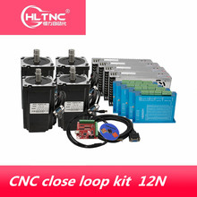 CNC close loop kit Nema 34 86HB250 156B 12Nm close loop servo Motor & HBS860H Hybrid servo driver+400w power supply for CNC