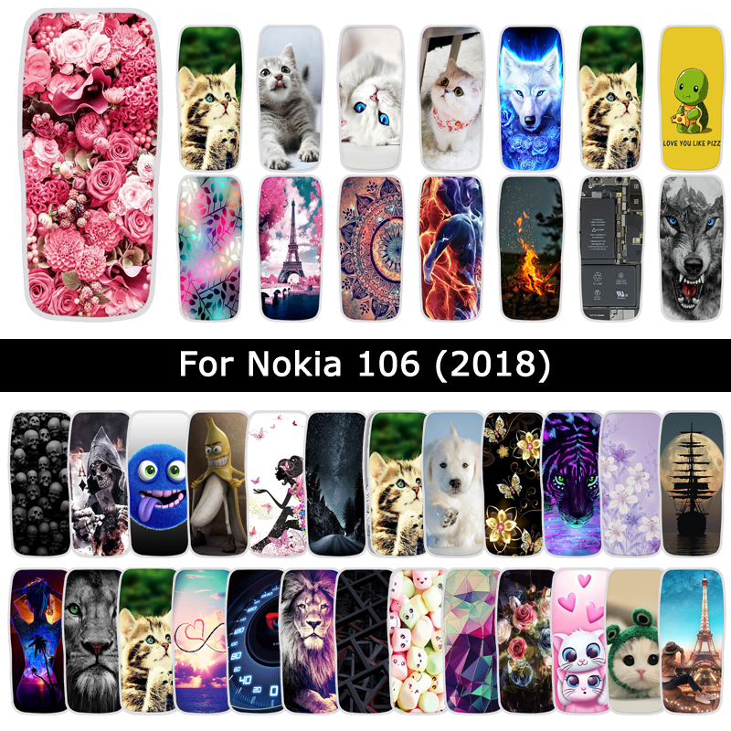 TPU <font><b>Case</b></font> For <font><b>Nokia</b></font> 106 <font><b>2018</b></font> Soft Silicone Flowers Animal Printed Cover For Nokia106 Back Phone Shells Bags <font><b>Cases</b></font> Fundas Coque image