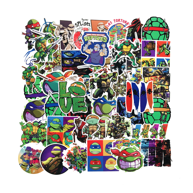 50PCS New Cartoon Teenage Mutant Ninja Turtles Waterproof Bar Cases With Graffiti PVC Stickers