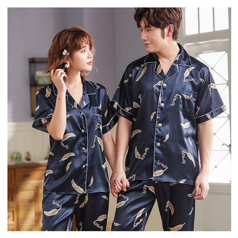 FZSLCYIYI Men Women Pajamas Set Soft Imitation Silk Print Shirt Pants Couple Sleepwear Pajama Sets Unisex Pyjamas Sleepwear