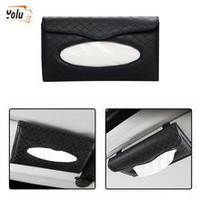 YOLU Car Sun Visor PU Leather Tissue Box Auto Clip Holder Paper Napkin  Beige/Brown/Black/Gray Accessories