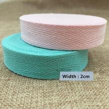 Free shipping ! (20mm) COLOR herringbone/ twill cotton tape/Cotton webbing/Bias binding tape ,50m/roll