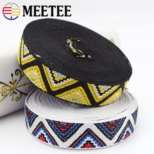 15Yards 20mm Ethnic Embroideried Jacquard Webbings Belt Curtain Lace Ribbons Decorative Tapes Shoes Bags DIY KY950