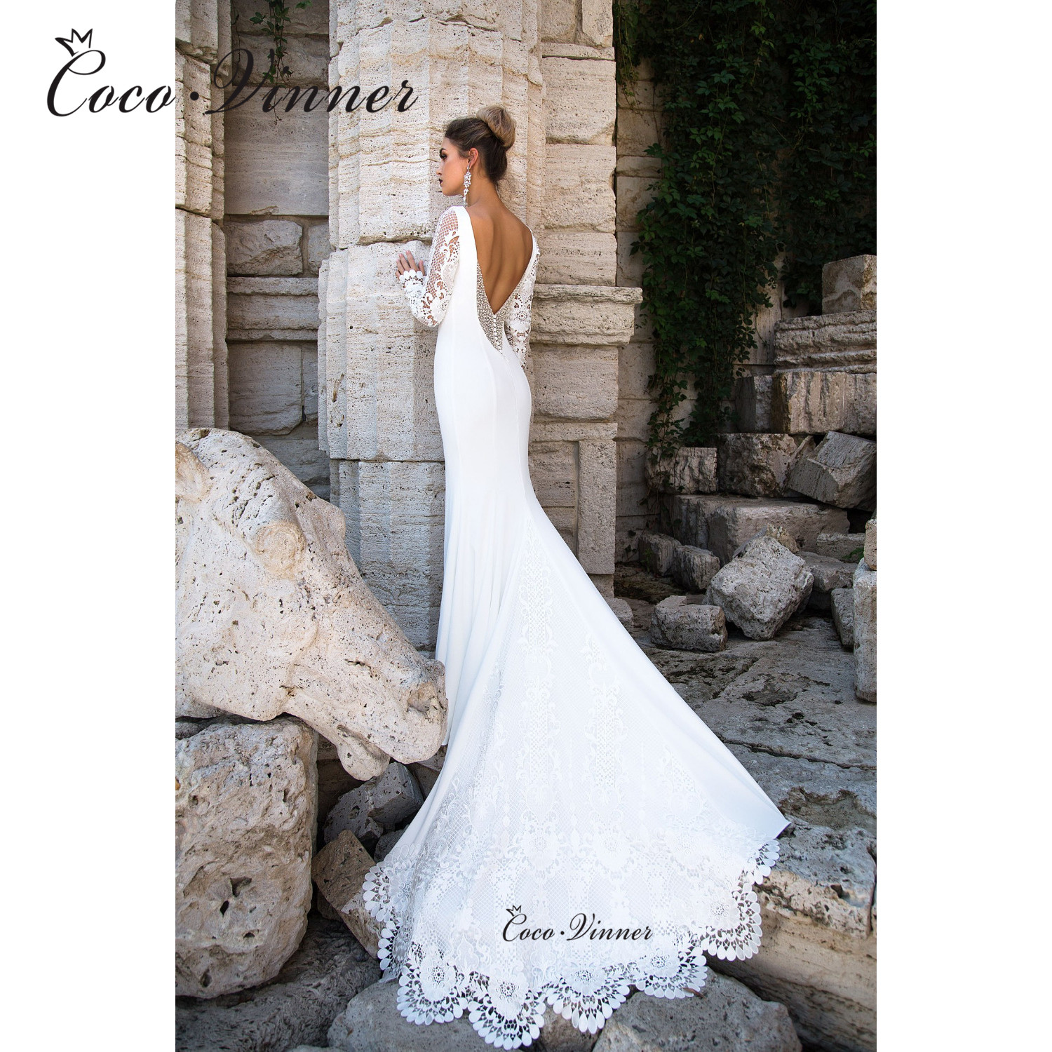 See-through Embroidery Long Sleeves Mermaid Wedding Dresses Backless Simple Pure White Court Train European Stylishi W0615