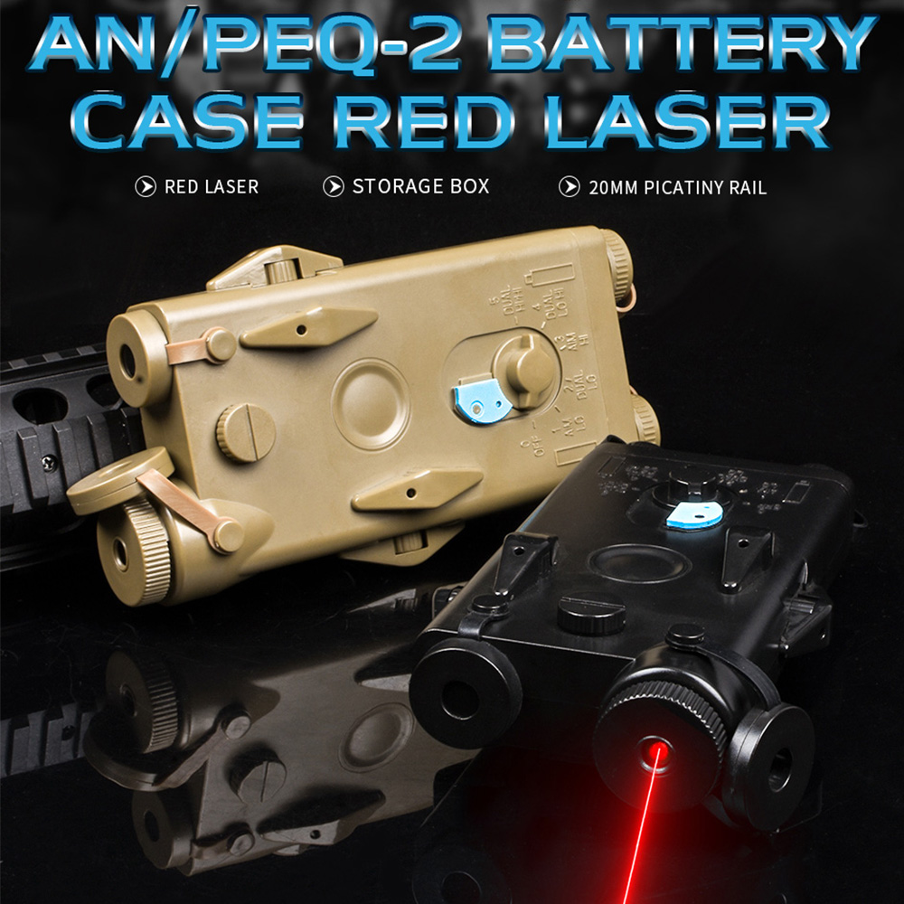 WADSN Airsoft Tactical AN Peq PEQ-2 Battery Case Red Laser For 20mm Rails No Function PEQ2 Box WEX426