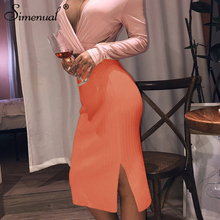 Simenual Ribbed Knitted Fashion Women Skirt High Waist Side Slit Autumn Winter 2019 Solid Sexy Bodycon Pencil Skirts Basic Slim цены