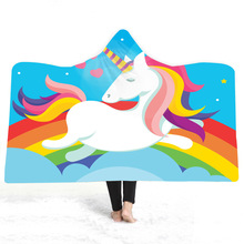 Unicorn Hooded Blanket For Adults Kids Cartoon 3D Printed Soft Plush Wearable Warm Throw Home Travel Picnic