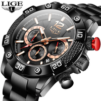 2020 New Mens Watches Waterproof Stainless Steel Quartz Clock LIGE Top Brand Outdoor Sports Wristwatch Chronograph Montre Homme