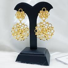 African Women Copper Drop Earrings  Gold Plated Earrings  Wedding bride Earrings Jewelry Gift