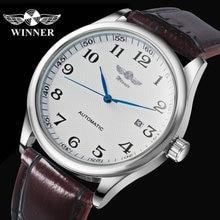 ساعة يد آلية للأعمال الموضة للرجال بحزام جلدي ساعات يد ميكانيكية للرجال ساعة بتقويم وتاريخ من montre homme WINNER