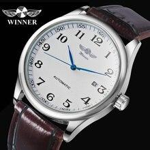 패션 비즈니스 자동 시계 남성 가죽 스트랩 남성 기계식 손목 시계 달력 날짜 시계 montre homme WINNER