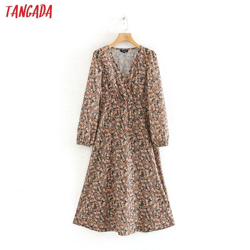Tangada Korean Fashion Women Vintage Floral Midi Dress V Neck Long Sleeve Ladies Casual Dress Vestidos XN320