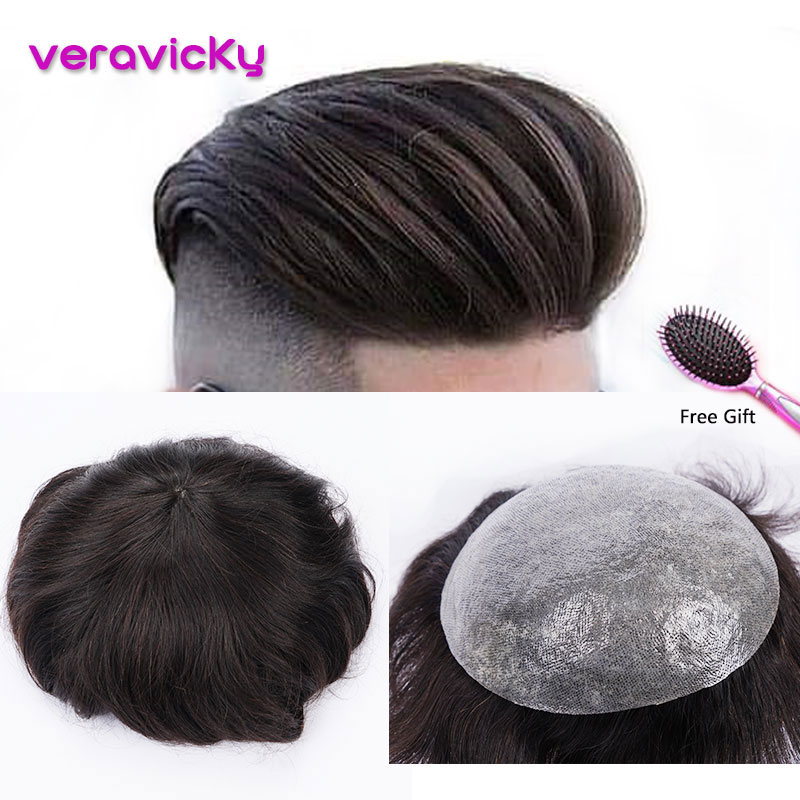 Human Hair Durable Hairpiece Thin Skin PU Replacement System For Men Toupees Remy Hair Silicon Base Hairpieces For Man Wig