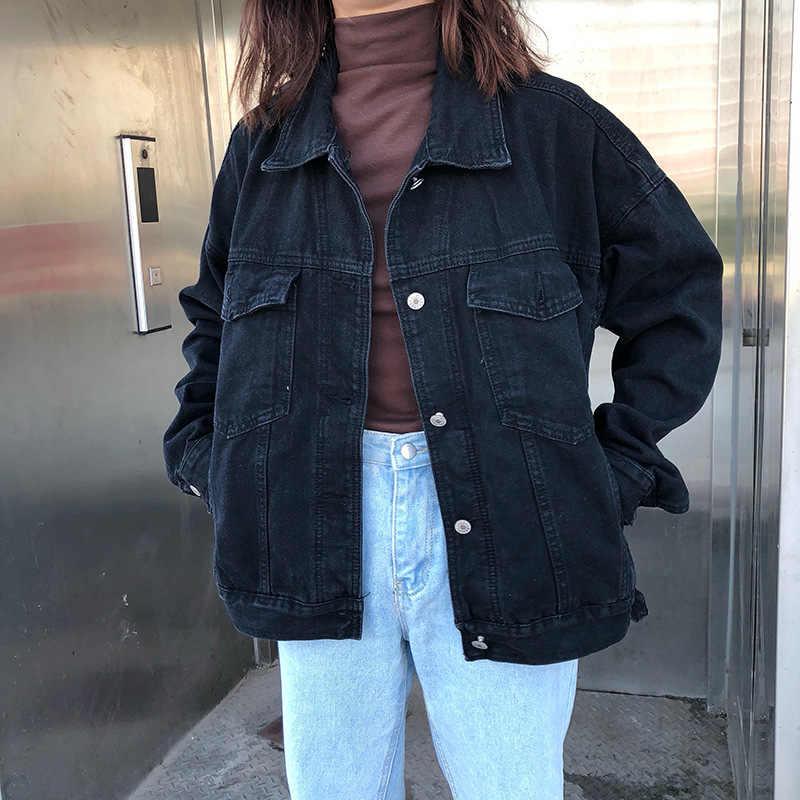 Casual Jas Vrouwen Zwarte Denim Jas Vintage Streetwear Basic Denim Jas Harajuku Losse Lange Mouw Bomber Vrouwen Jeans Jas