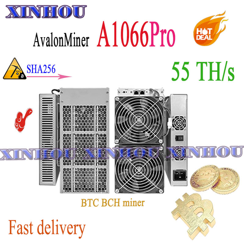 Asic Miner Avalon A1066Pro 55Th/s Sha256 BTC BCH Miner More Economical Than AntMiner S17+ S17e T17+ T17e T2T T3 M20S M21S M30S