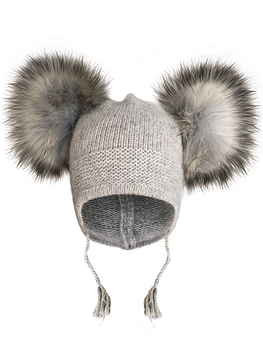 Baby Child PomPom Beanie Hats Cut Toddler Angora knitted hats raccoon fur ball beanie