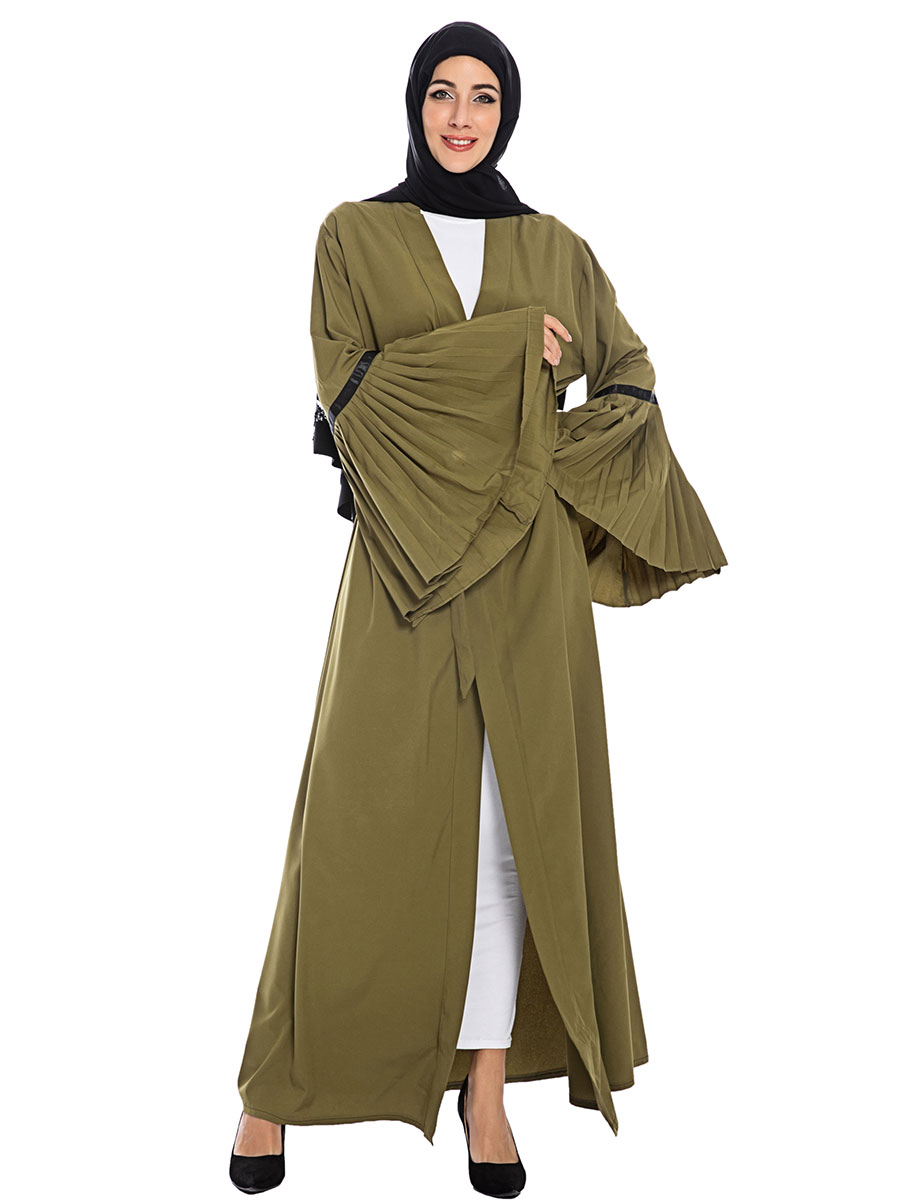 Abaya Turkish Moroccan Kaftan Para Mujer  Green Trumpet Sleeves Loose Casual Loose Autumn Women's Clothing Musulmane Robe
