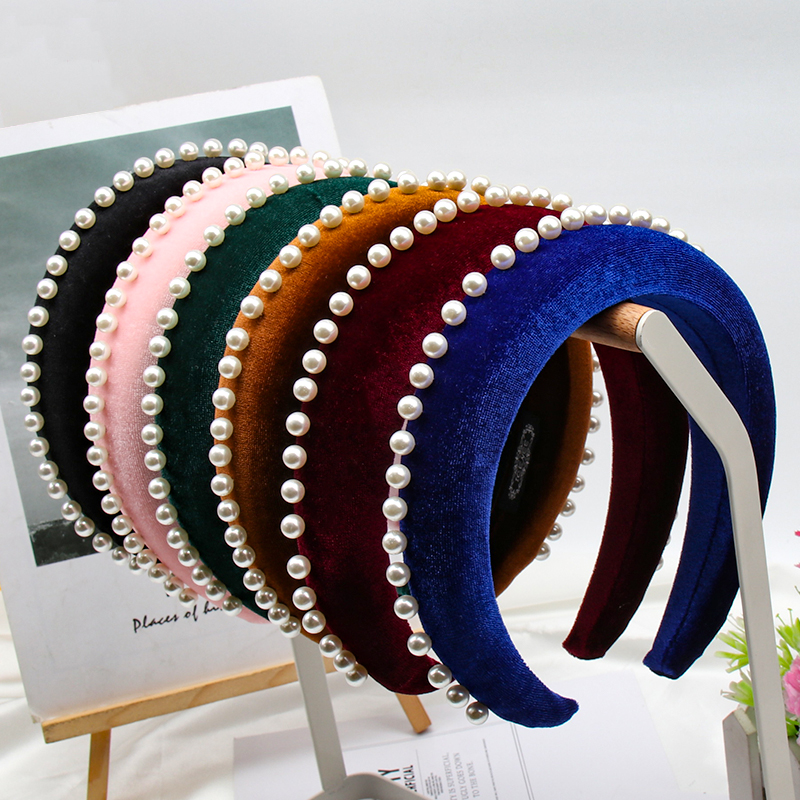 Xugar Hair Accessories Pearl Padded Headbands For Women Velvet Hairbands Girls Solid Color Headband Hair Hoop