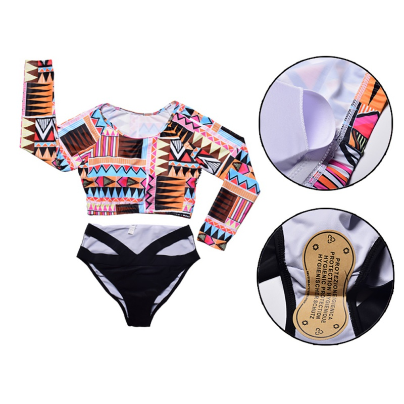 Swimwear Bikini Long-Sleeve Print Beach-Bathing Women Floral Low-Waist Female Large Szie