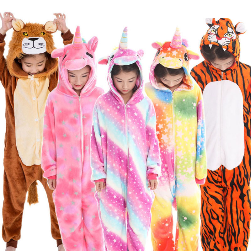 New Kids Animal Pajamas Boys Girls Unicorn Tiger Pegasus Cosplay Winter Hooded Children Sleepwear Onesie Flannel Pyjamas