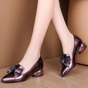 Image 5 - Allbitefo borboleta nó couro genuíno nova moda de salto alto casual menina alta sapatos de salto grosso venda quente sapatos plataforma feminina