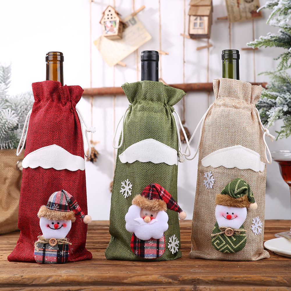 Christmas Red Wine Bottle Covers Bags Linen Santa Clause Snowman Champagne Bottle Covers Christmas Party Home Decor Table