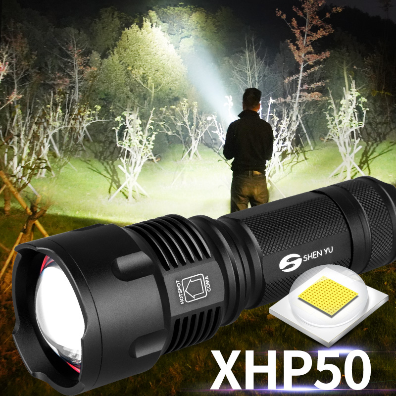 Powerful Tactical LED Flashlight CREE XHP50 T6 L2 Zoom Waterproof Torch For 26650 Rechargeable Or AA Battery Flashlight