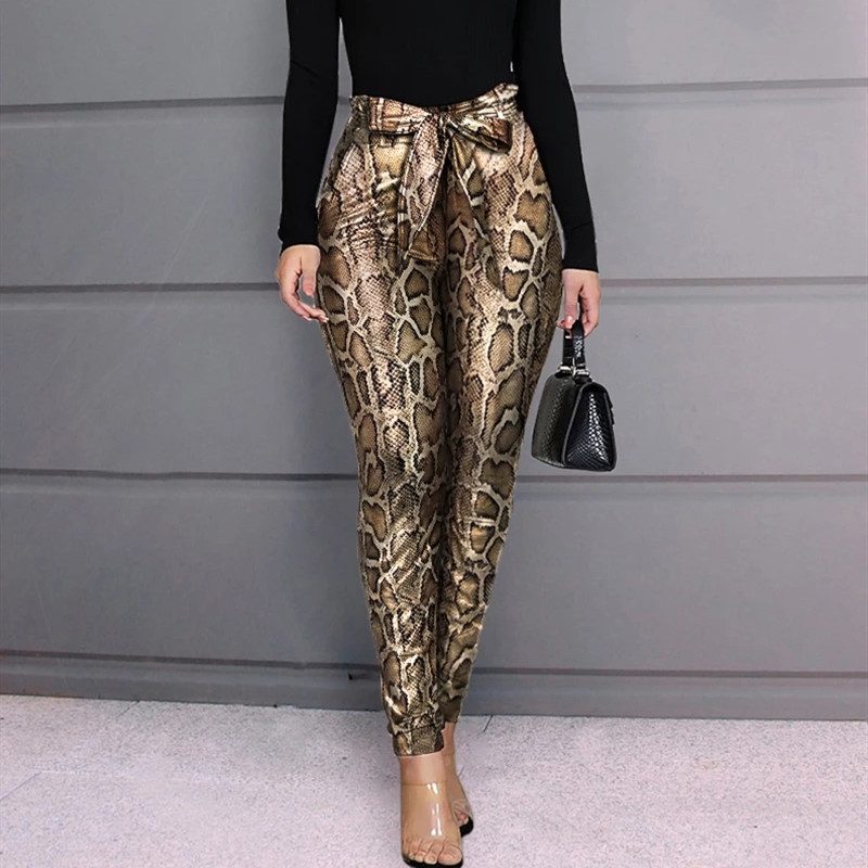 2020 Women PU Leather Pants Women Trousers Push Up High Waist Skinny Pants Pencil Spring Snake Skin Sexy Pants Female