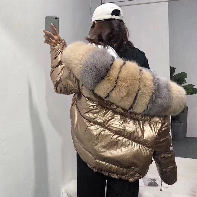 FTLZZ النساء جهين الفضة الذهبي بطة أسفل معطف الشتاء كبيرة الفراء الحقيقي طوق سترة مضادة للماء مقنعين الثلوج قميص-في معاطف قصيرة من ملابس نسائية على  مجموعة 2