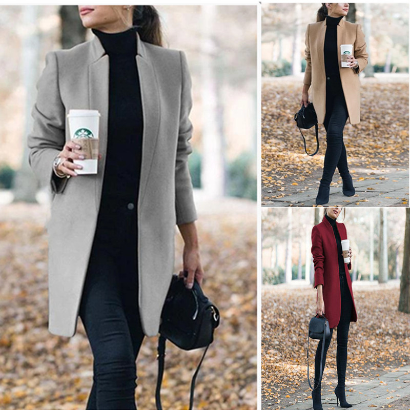 Women Solid Color Stand Lead Woolen Loose Coat Suit Jacket Suit Coat Jacket Women Blazers Female Outerwear