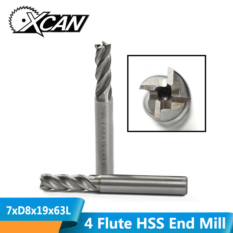 XCAN 1 Piece Diameter 7mm High Speed Steel End Mills 4 Flute Milling Cutter  For Metal Engraving Milling CNC End Mill